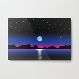 Moon Horizon 102 Black Sky Metal Print