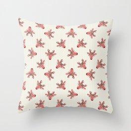 Kawaii cartoon deer head flower crown. Throw Pillow
