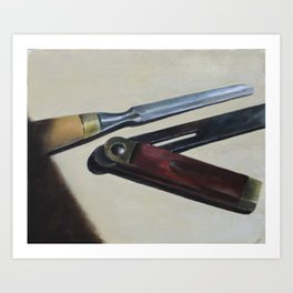 Still Life with Mortising Chisel and Sliding T-Bevel Art Print