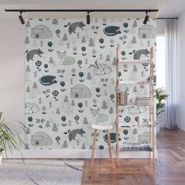 Sleepy Woodland Animals - Mint Wall Mural