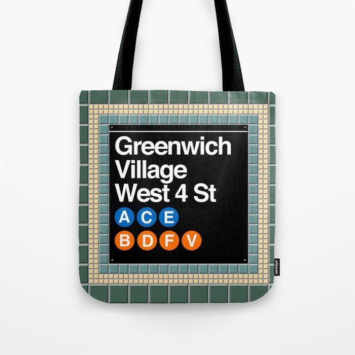 subway greenwich village sign Tote Bag
