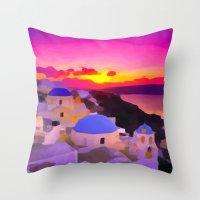 greece Throw Pillows featuring Greece  by Xchange Art Studio