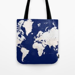 "Navy blue and light brown detailed world map ""Gavin"" Tote Bag"