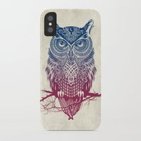warrior iPhone & iPod Cases featuring Evening Warrior Owl by Rachel Caldwell
