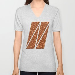 Chocolate Brown Abstract Unisex V-Neck