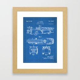 Fire Truck Patent - Aerial Fireman Truck Art - Blueprint Framed Art Print
