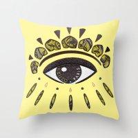 kenzo Throw Pillows featuring Kenzo eye yellow by cvrcak