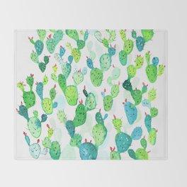 Watercolour Cacti Throw Blanket