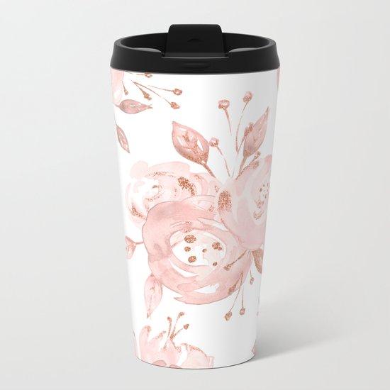 Roses Rose Gold Glitter Pink by Nature Magick Metal Travel Mug