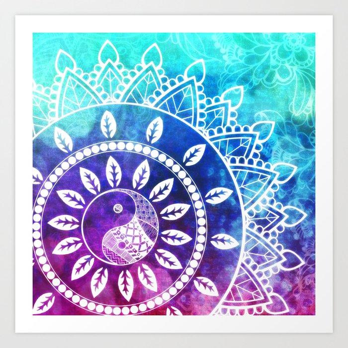Divine Dream Pink Purple Blue Mandala Art Print