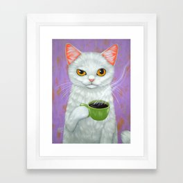 WHITE CAT AND BLACK COFFEE Framed Art Print