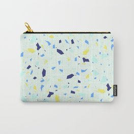 Pale and Yellow Blue Terrazzo - Granite Marble Pastel Pattern Carry-All Pouch