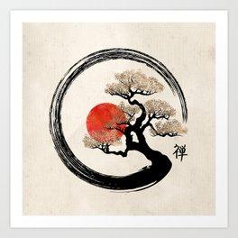 Enso Circle and Bonsai Tree on Canvas Art Print