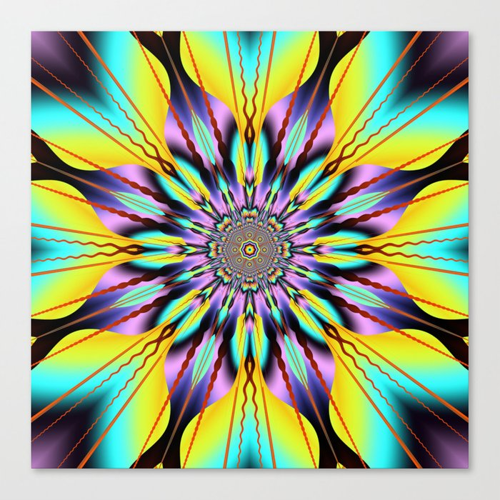 Fantasy sunflower with wavy rays and patterns Canvas Print