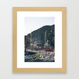 Retired Greenlandic fishing boat Framed Art Print