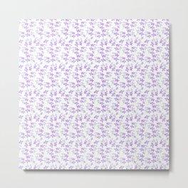 lilac flowers watercolor pattern Metal Print