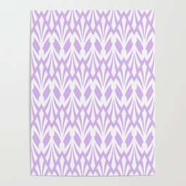 Decorative Plumes - White on Lavender Pink Poster