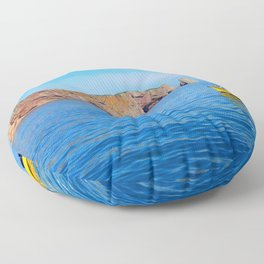 The Rock and the Yellow Boat Floor Pillow