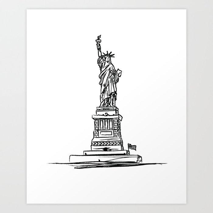 Statue Of Liberty Black And White Minimalist Sketch Illustration New York Destination Art Art Print By Beautyofperfection Society6