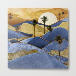 Desert Palm Trees at Dawn Metal Print