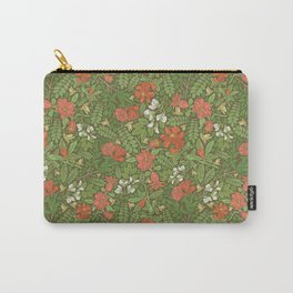 Pomegranate flowers with grasshoppers on green background Carry-All Pouch