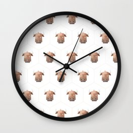 Hexagon's Cow design Wall Clock
