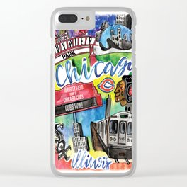 Chicago Watercolor Collage Clear iPhone Case