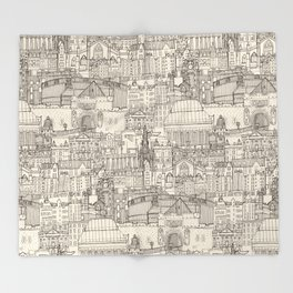 Edinburgh toile natural Throw Blanket