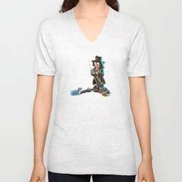 Doctors at Play - 4th Doctor (Sir Tom of Baker) and K9 Unisex V-Neck