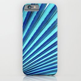 Fine Art Blue Fan Palm Leaf Close-Up Photo iPhone Case
