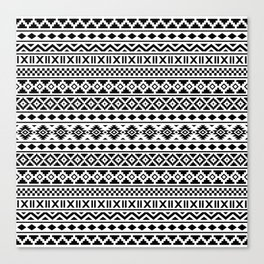 Aztec Essence Pattern Black on White Canvas Print