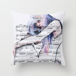 Waiting Place on sheet music Throw Pillow