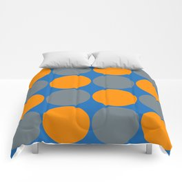 orange and gray circles blue background Comforters