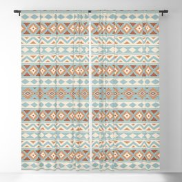 Aztec Essence Ptn IIIb Blue Crm Terracottas Blackout Curtain