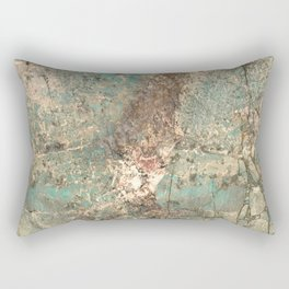 Turquoise and Fawn Brown Marble Rectangular Pillow