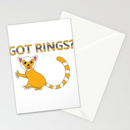 Unique & Funny Ringtail Cat Tshirt Design Got Rings? Stationery Cards