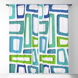Mid Century Abstract ~ Blue & Green Palette Blackout Curtain