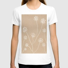 Dandelions flowers illustration on beige kraft T-shirt