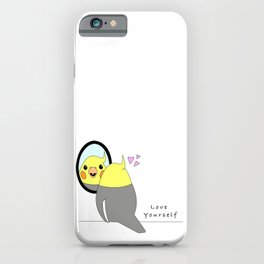 Love Yourself- Cockatiel loving his reflection  iPhone Case