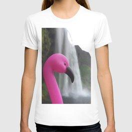 Flamingo goes to Iceland  T-shirt