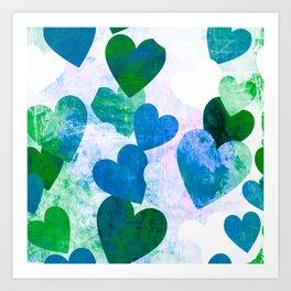 Fab Green & Blue Grungy Hearts Design Art Print