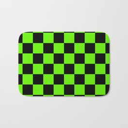 Checkered Pattern: Black & Slime Green Bath Mat