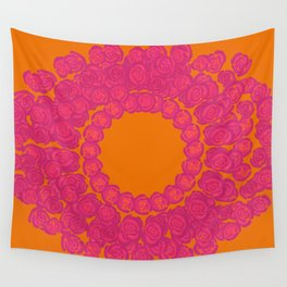 Pink Rose Wreath Wall Tapestry