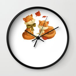 Two Cute Foxes at Night animal forest Wall Clock