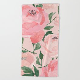 Watercolor Peonies with Blush Background Beach Towel