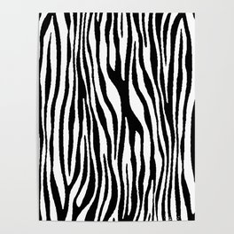 Vegan Zebra Fur Animal Print Design (Black) Poster