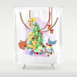Dressing the Yule Tree - cartoon animals Shower Curtain