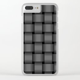 Large Dark Gray Weave Clear iPhone Case