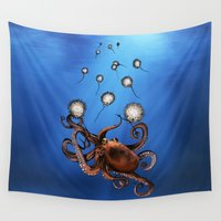 octopus Wall Tapestries featuring Octopus by Anna Shell