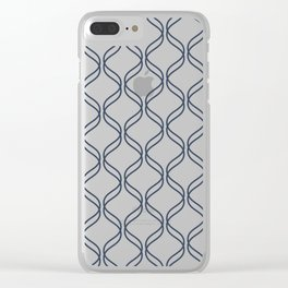 Double Helix - Navy #535 Clear iPhone Case